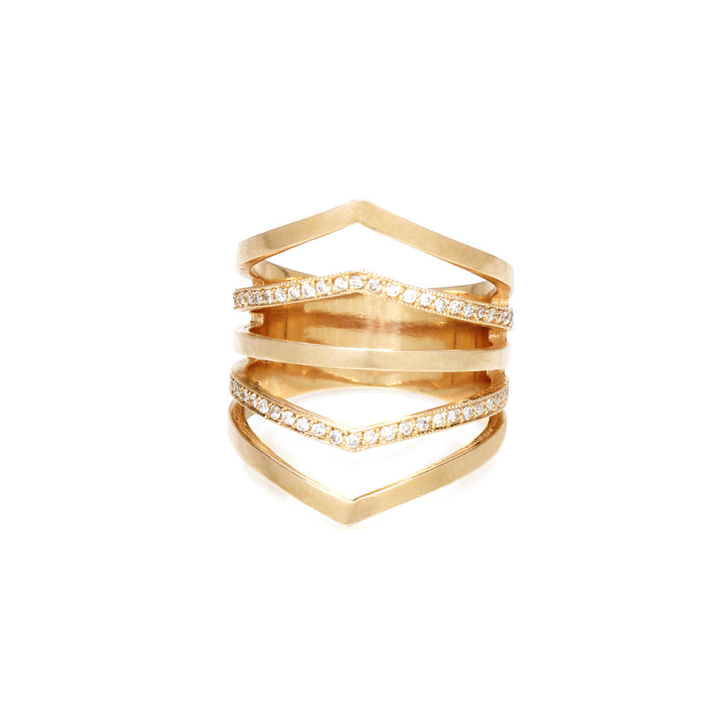 14k alternating pave 5 band ring
