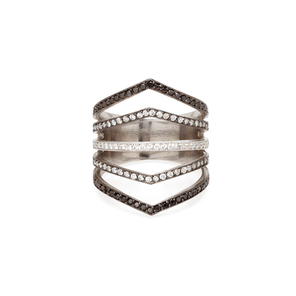 14k ombre 5 band ring