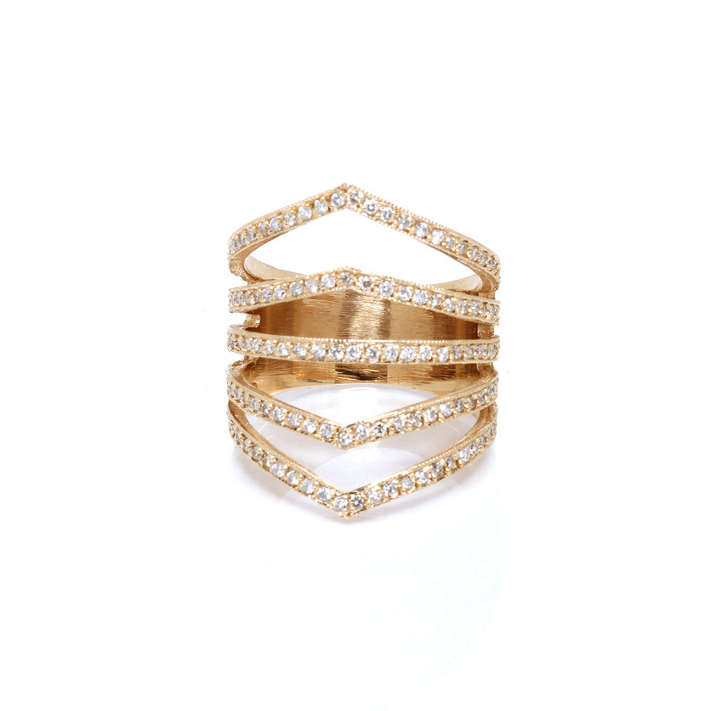 14k pave 5 band ring