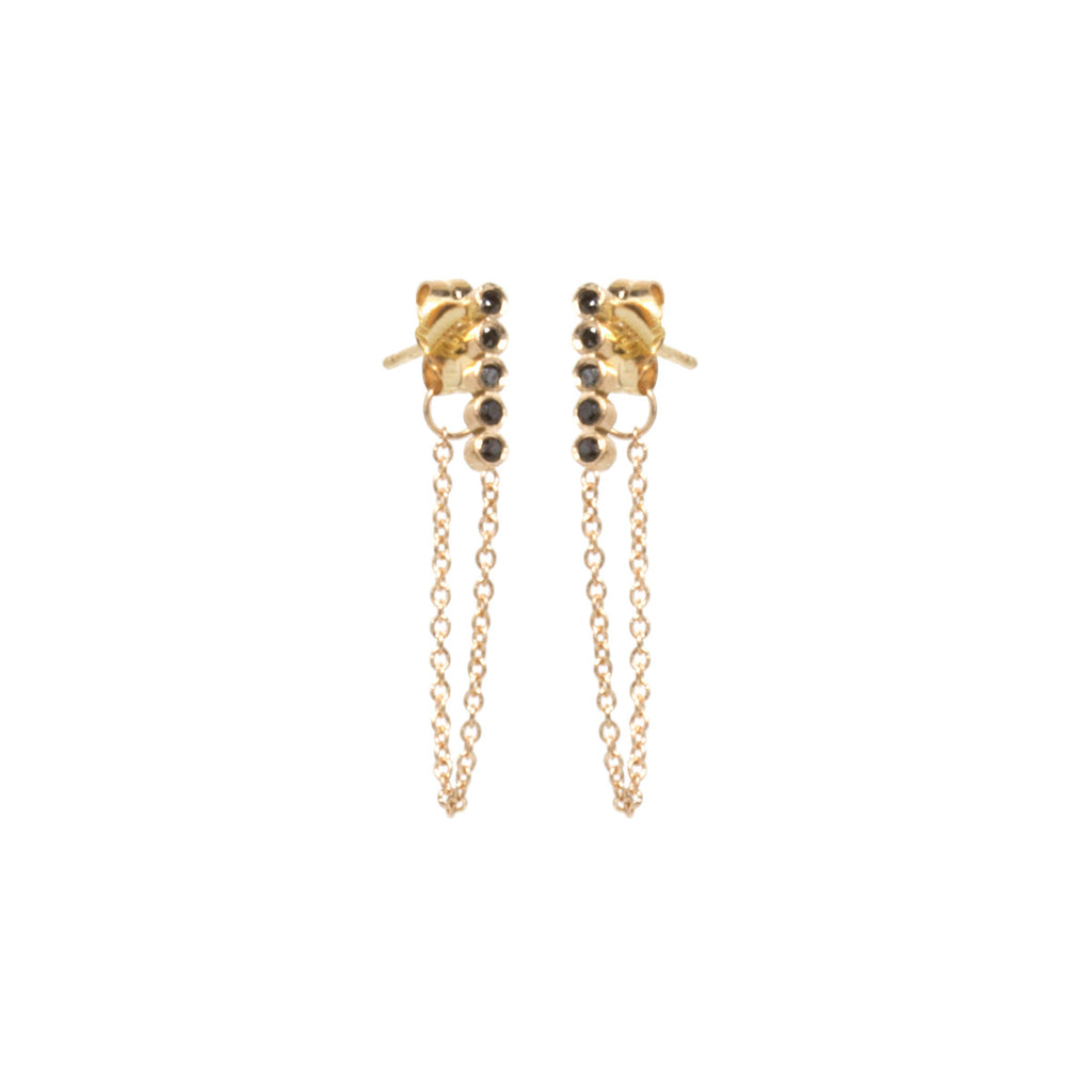 14k tiny black diamond bezel bar chain earrings