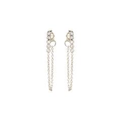 14k tiny 5 bezel bar chain stud earrings