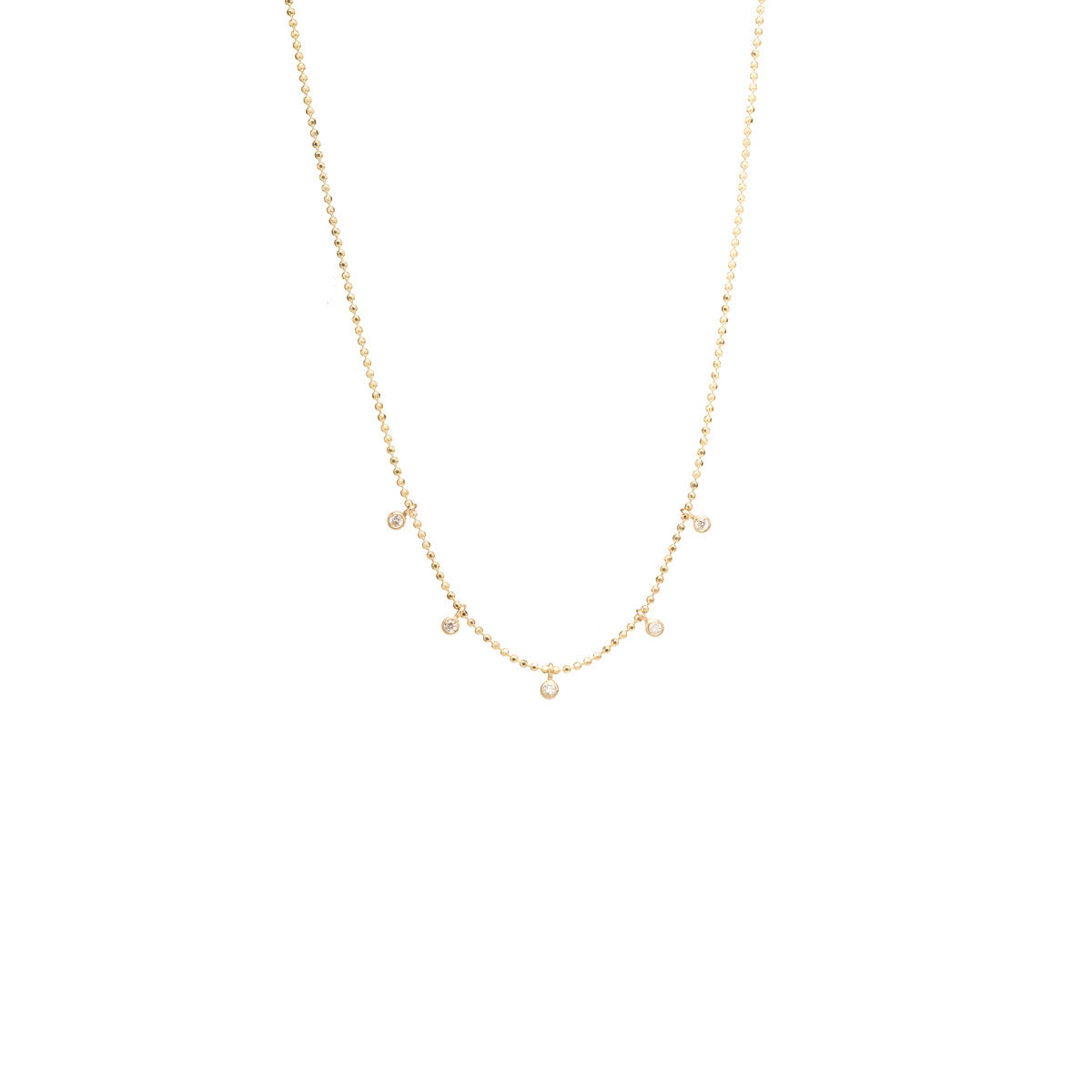 Zoë Chicco 14kt Yellow Gold 5 Tiny White Diamonds Dangling Necklace