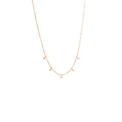 Zoë Chicco 14kt Rose Gold 5 Tiny White Diamonds Dangling Necklace
