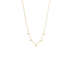 Zoë Chicco 14kt Yellow Gold 5 White Diamond Graduated Dangling Necklace