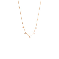 Zoë Chicco 14kt Rose Gold 5 White Diamond Graduated Dangling Necklace