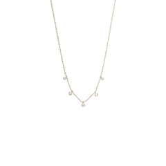 Zoë Chicco 14kt White Gold 5 White Diamond Graduated Dangling Necklace
