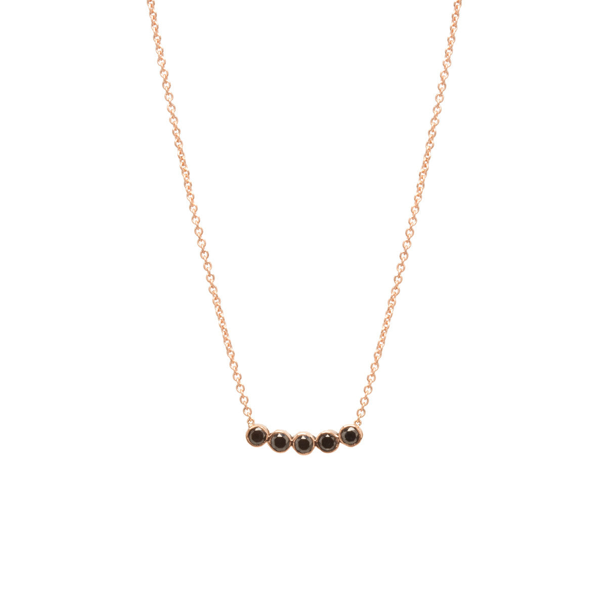Zoë Chicco 14kt Rose Gold Five Black Diamond Necklace