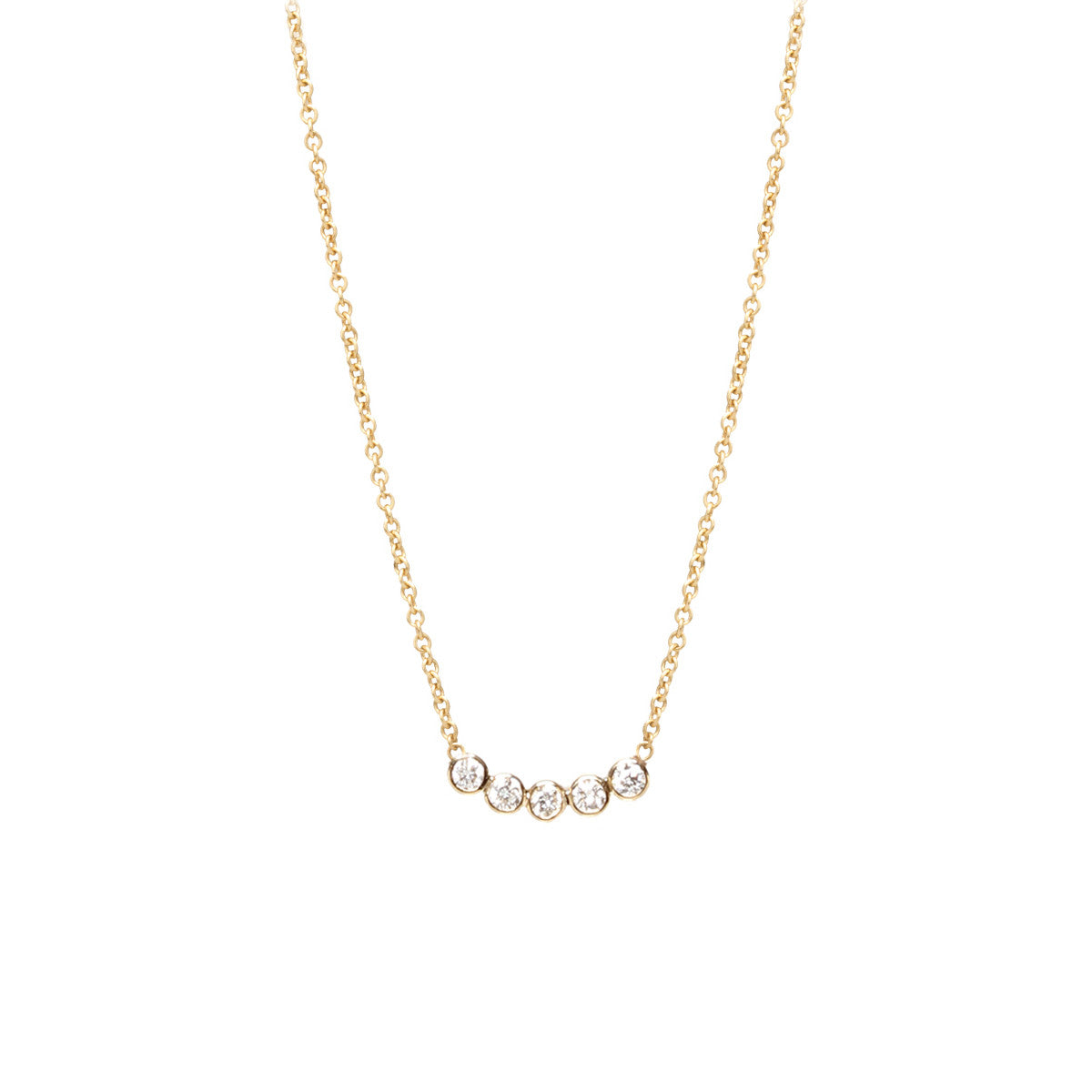 Zoë Chicco 14kt Yellow Gold Five Diamond Necklace