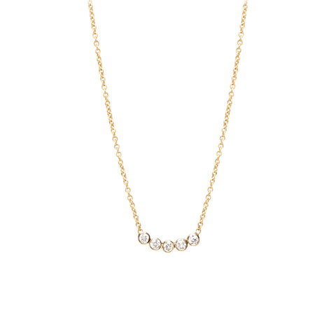 14k five diamond necklace