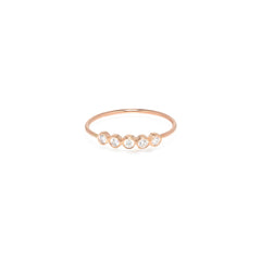 Zoë Chicco 14kt Rose Gold 5 White Diamond Ring