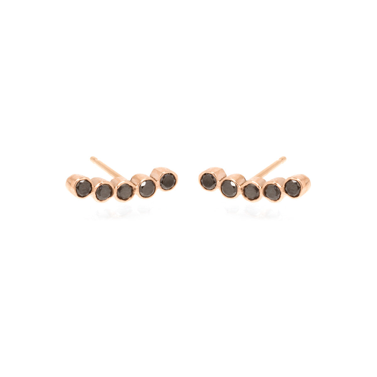 Zoë Chicco 14kt Rose Gold 5 Black Diamond Bezel Set Stud Earrings