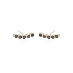 Zoë Chicco 14kt White Gold 5 Black Diamond Bezel Set Stud Earrings