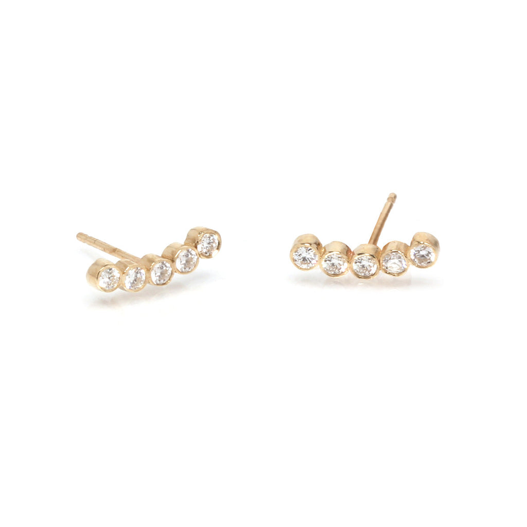 Zoë Chicco 14kt Yellow Gold Curved 5 White Diamond Stud Earrings