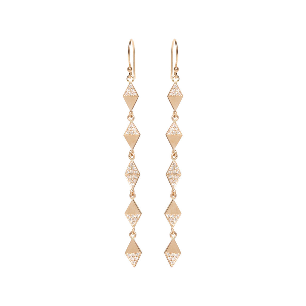 14k harlequin pave earrings
