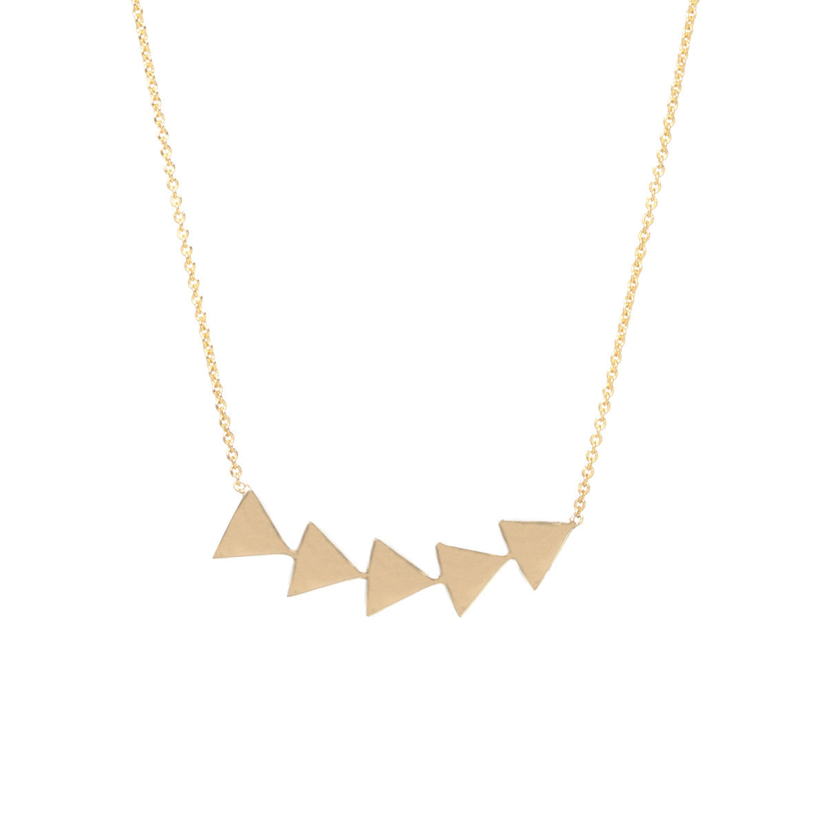 14k 5 triangle necklace