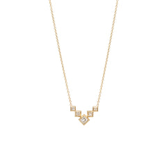 Zoë Chicco 14kt Yellow Gold 5 Princess Cut Diamond Bezel Set V Necklace