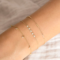 14k 5 linked floating diamonds bracelet
