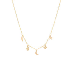 Zoë Chicco 14kt Yellow Gold Celestial Diamond Itty Bitty Dangle Necklace