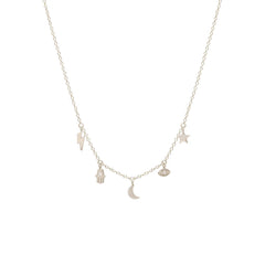 Zoë Chicco 14kt White Gold Celestial Diamond Itty Bitty Dangle Necklace