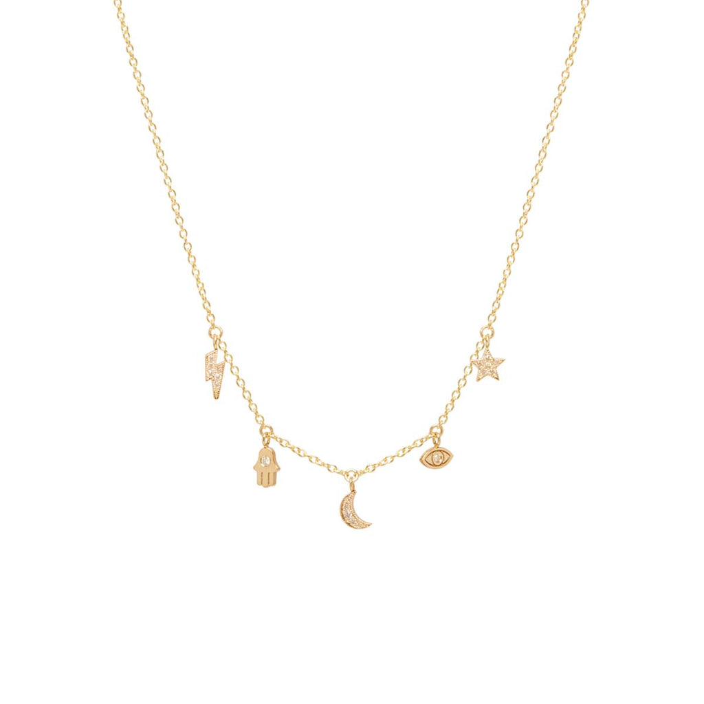 14k pave diamond celestial itty bitty dangle necklace