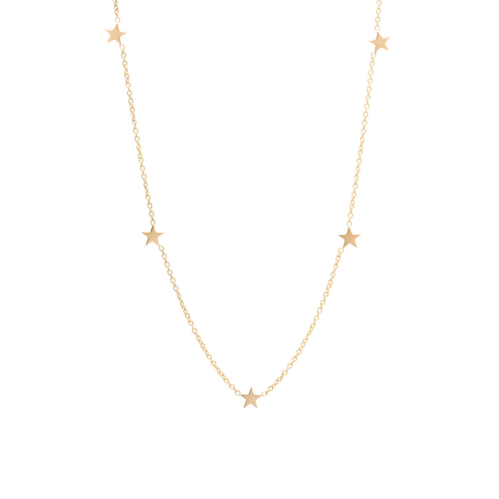 14k itty bitty 5 star necklace