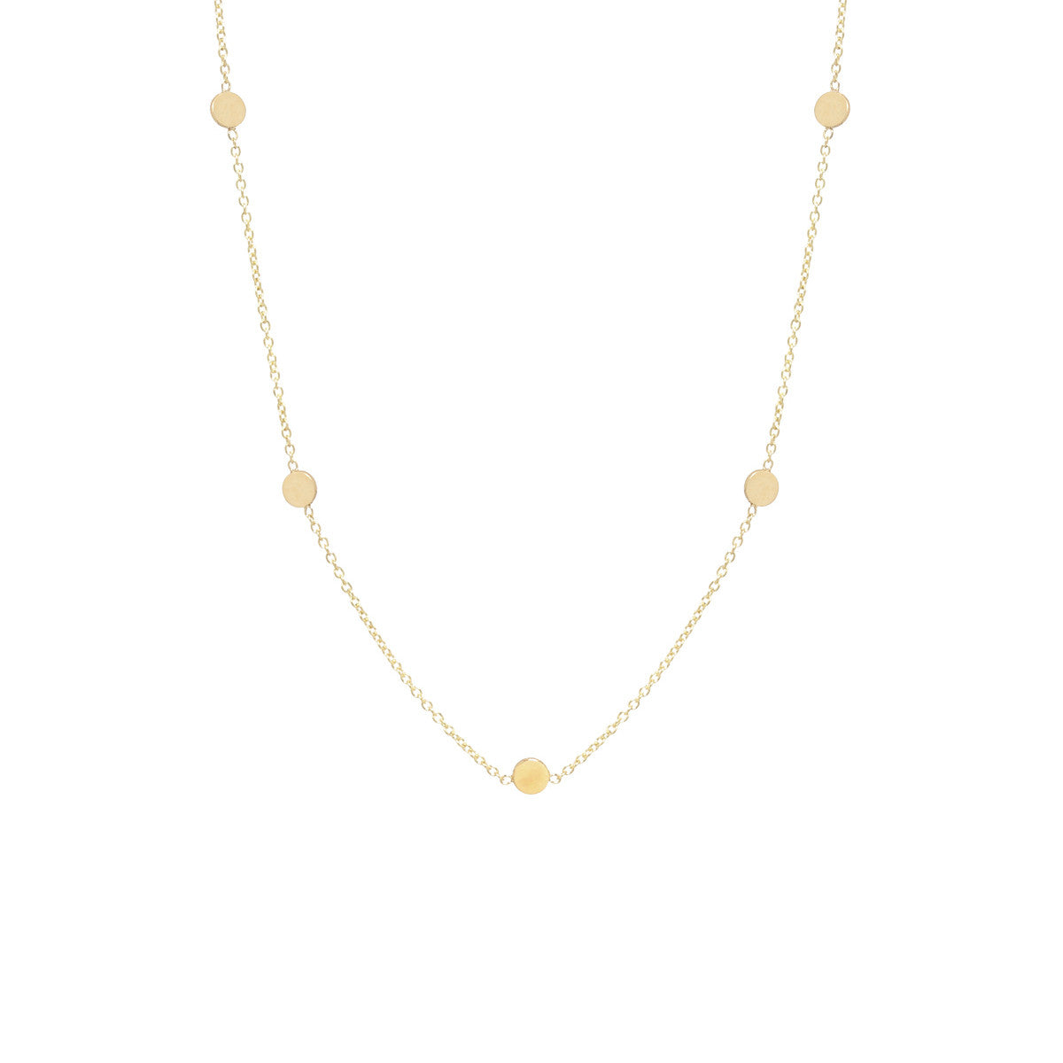 Zoë Chicco 14kt Yellow Gold Itty Bitty 5 Disc Necklace