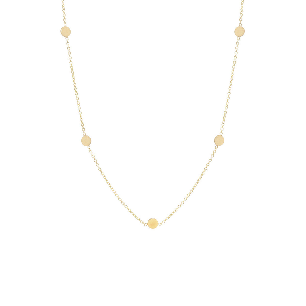 14k itty bitty 5 disc necklace
