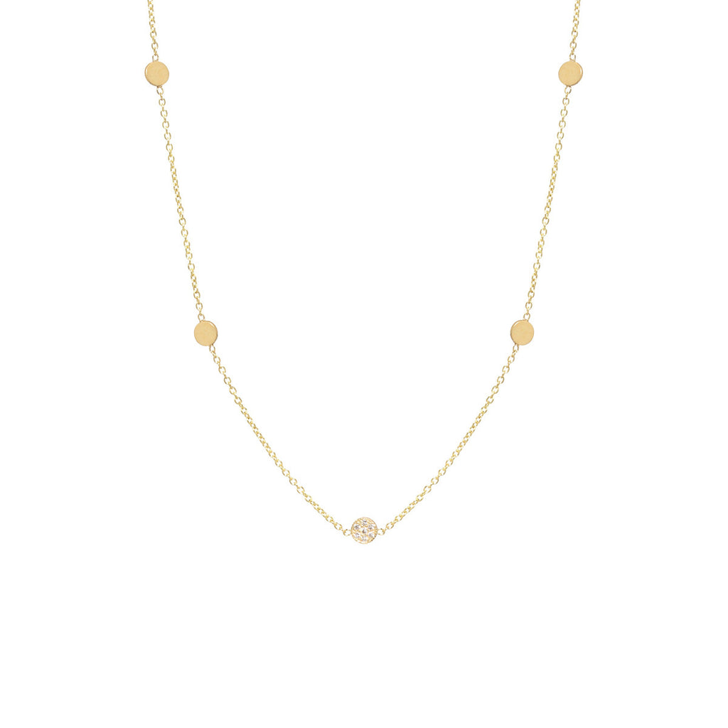 14k itty bitty 5 disc necklace with 1 pave disc