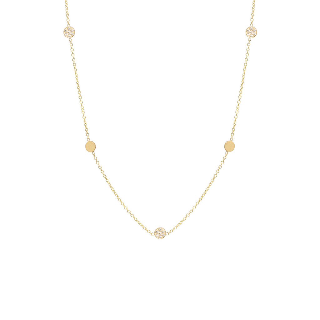 14k itty bitty 5 disc necklace with alternating pave discs