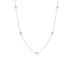 Zoë Chicco 14kt Rose Gold Itty Bitty 5 Disc Necklace With Alternating Diamond Pave Discs