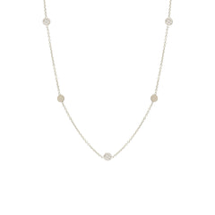 Zoë Chicco 14kt White Gold Itty Bitty 5 Disc Necklace With Alternating Diamond Pave Discs