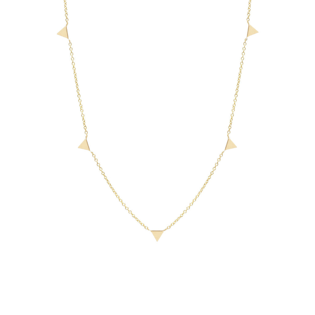 14k itty bitty 5 triangles necklace