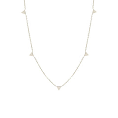 Zoë Chicco 14kt White Gold Itty Bitty 5 Triangles Necklace