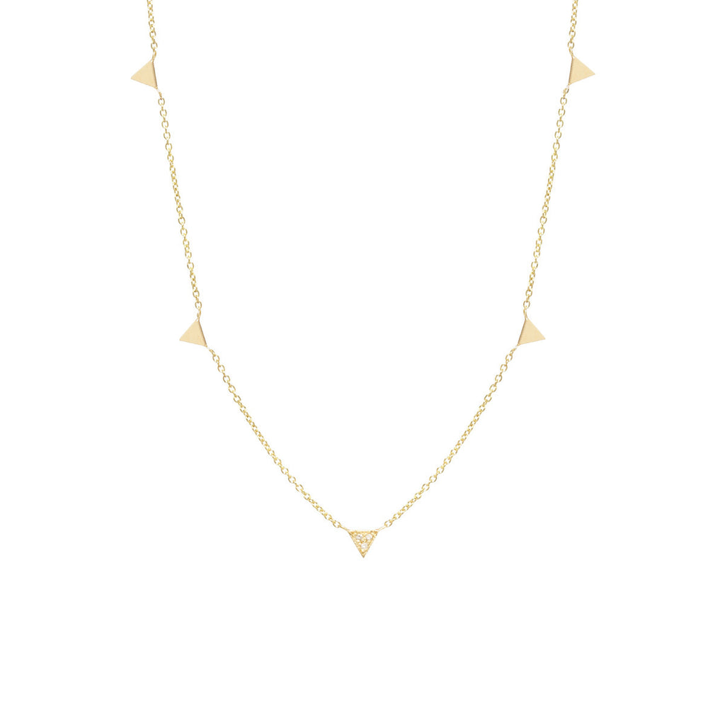 14k itty bitty 5 triangles necklace with 1 pave triangle