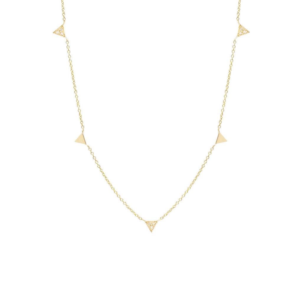 14k 5 itty bitty triangles necklace with alternating pave diamonds