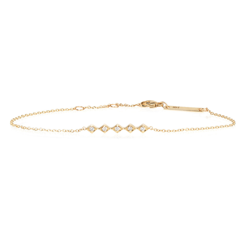 Zoë Chicco 14kt Yellow Gold 5 Tiny White Diamond Shaped Bar Bracelet