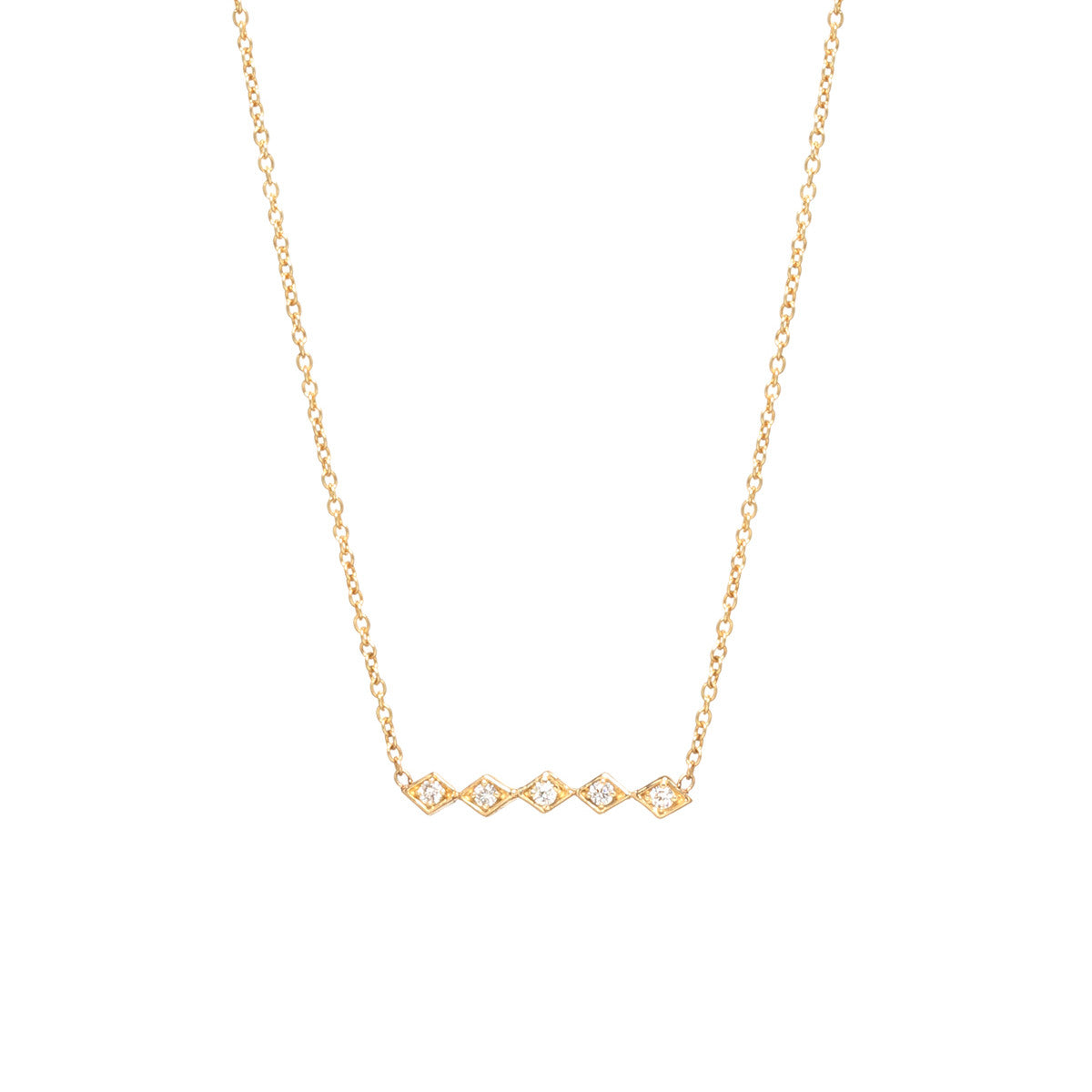 Zoë Chicco 14kt Yellow Gold 5 Horizontal Tiny Diamond Shaped Bar Necklace