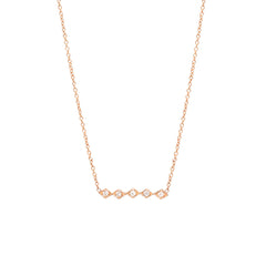 14k horizontal tiny diamond shaped bar necklace