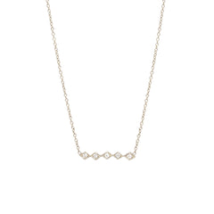 Zoë Chicco 14kt White Gold 5 Horizontal Tiny Diamond Shaped Bar Necklace