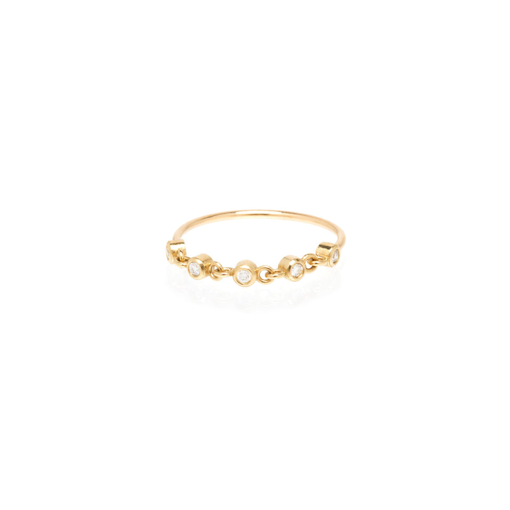 14k linked tiny bezel diamond ring