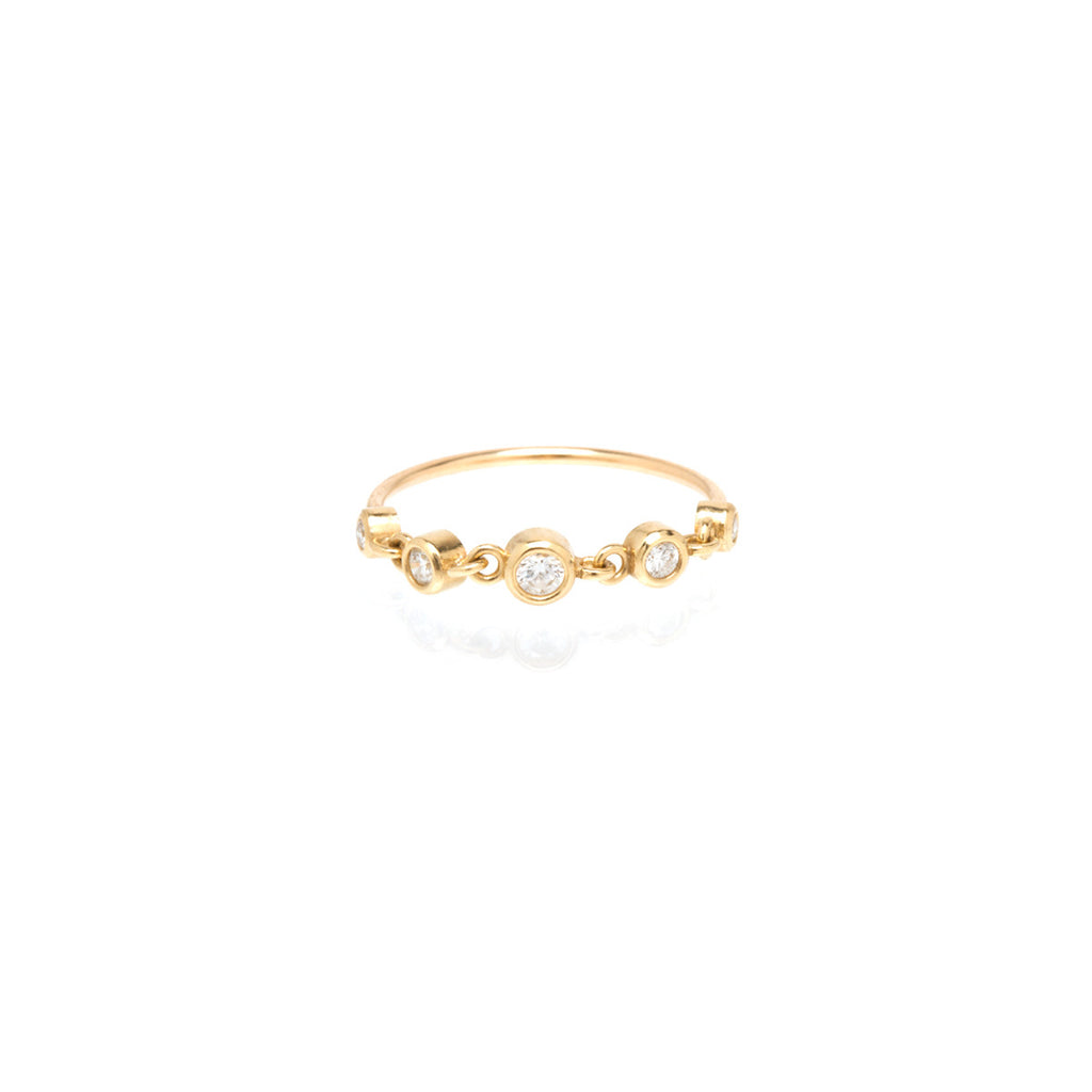 14k linked graduated bezel diamond ring