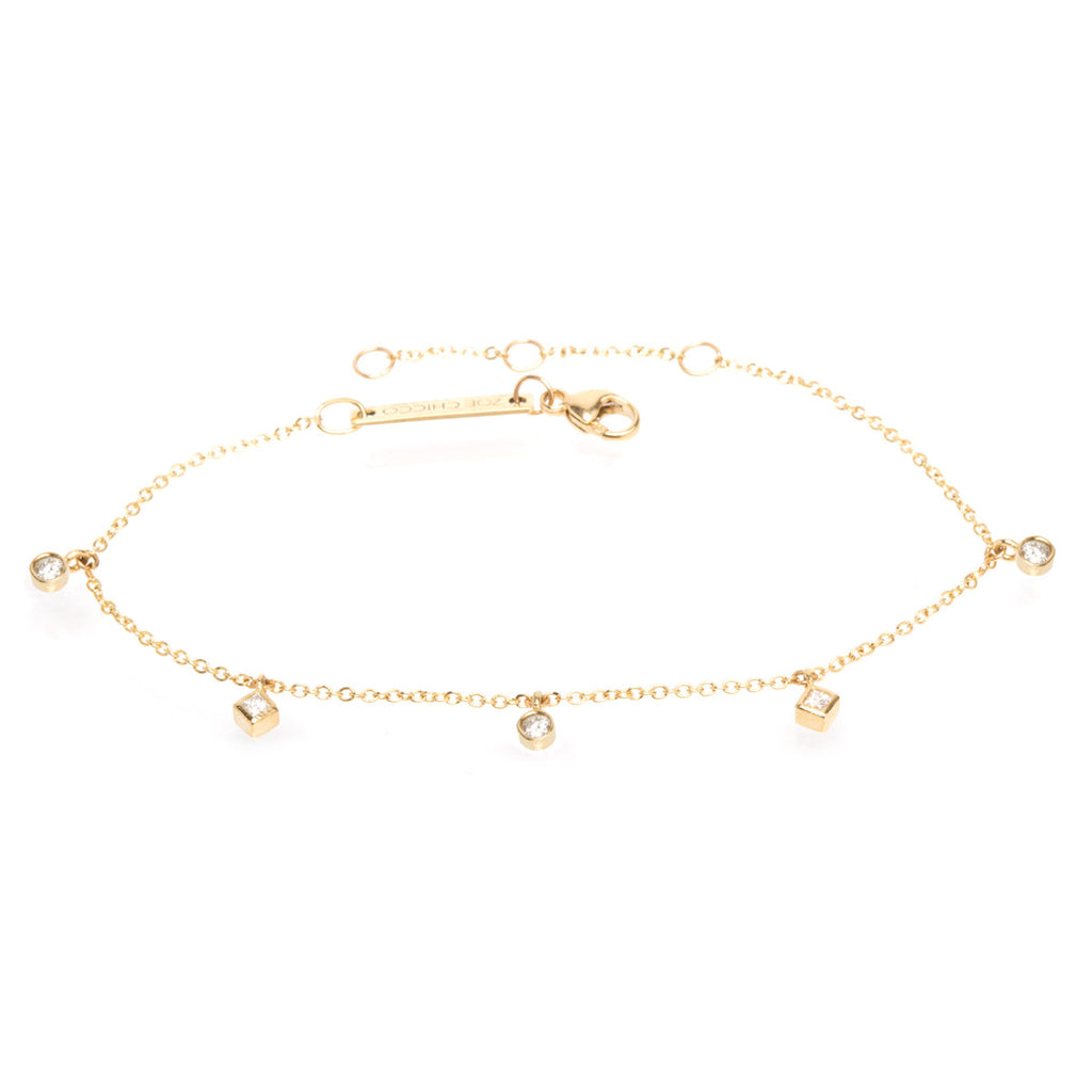 14k bezel and princess diamond dangle bracelet