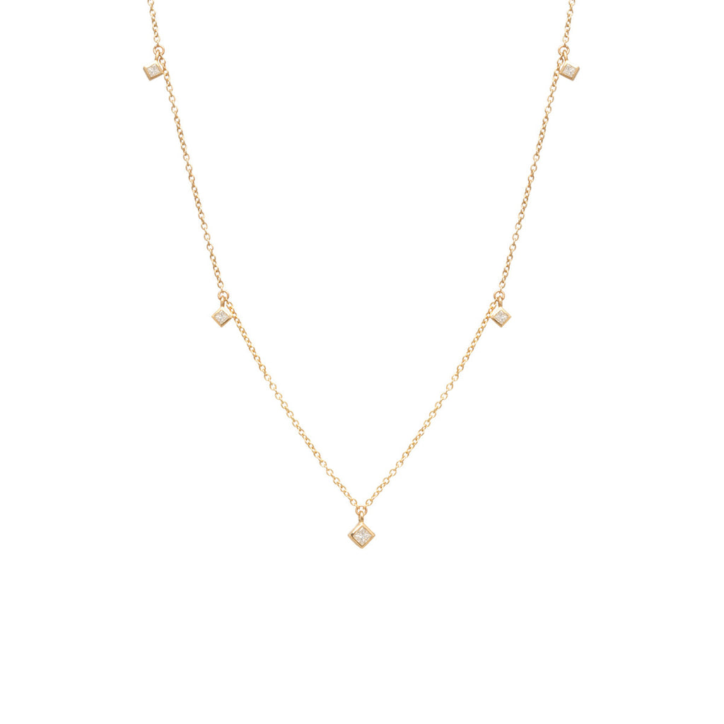 Zoë Chicco 14kt Yellow Gold 5 Dangling White Princess Cut Diamond Choker Necklace