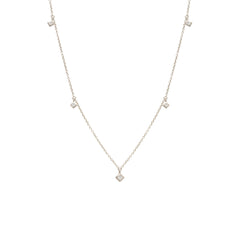 Zoë Chicco 14kt White Gold 5 Dangling White Princess Cut Diamond Choker Necklace