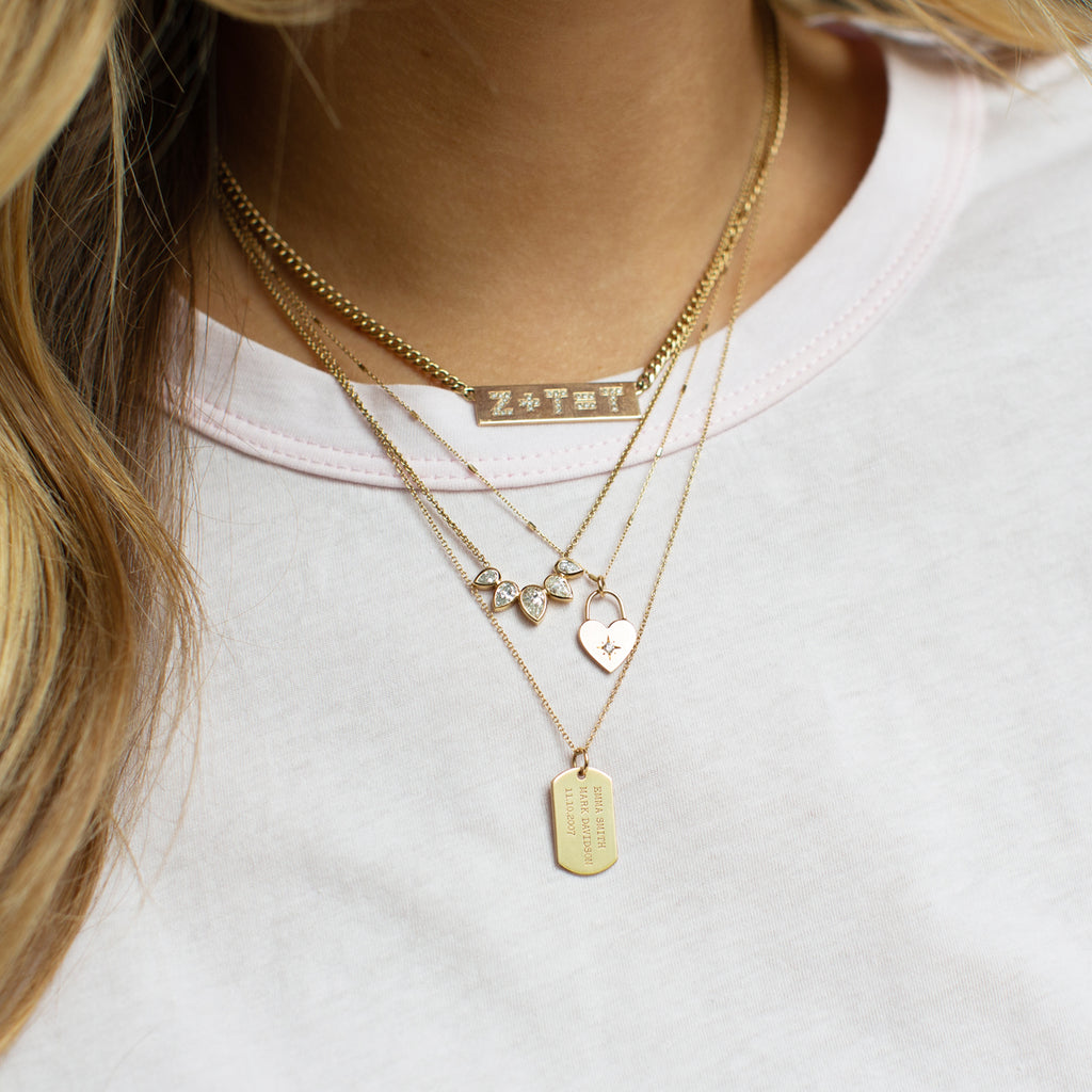 14k pave initial equation ID necklace with curb chain