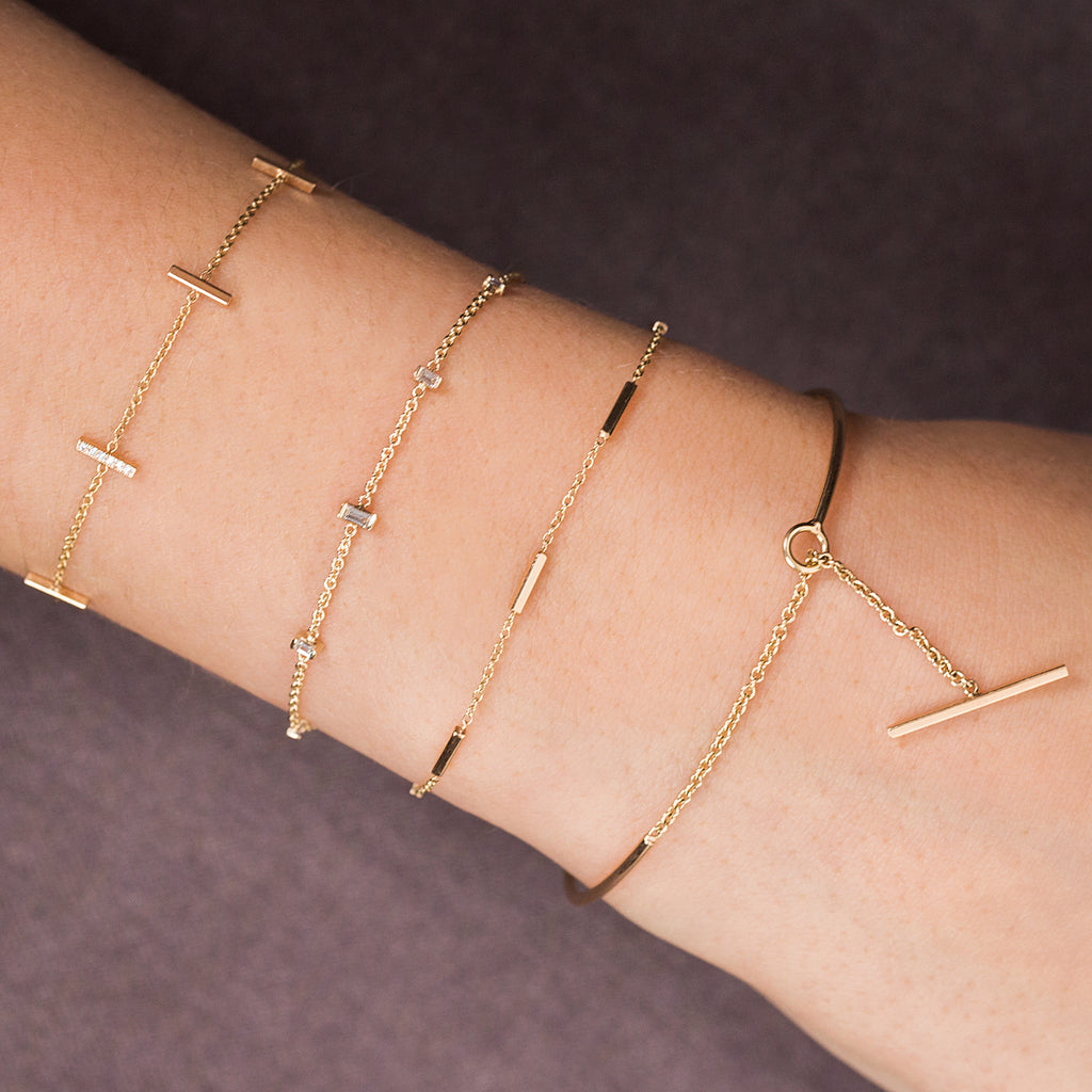 Zoë Chicco 14kt Yellow Gold White Diamond Baguette Bolo Bracelet