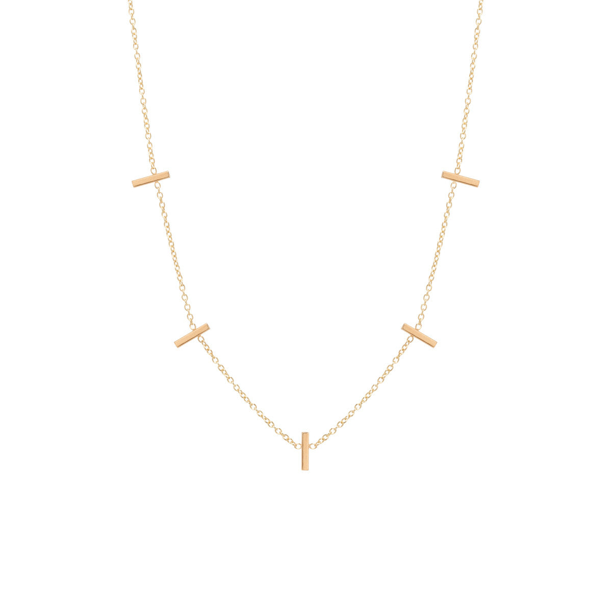 Zoë Chicco 14kt Yellow Gold 5 Tiny Bar Station Necklace