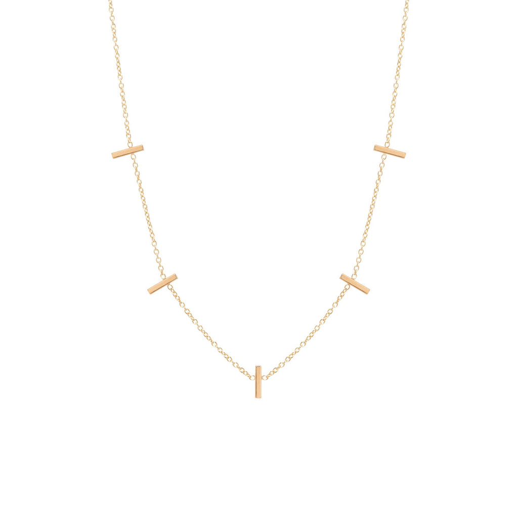 14k 5 tiny bar station necklace