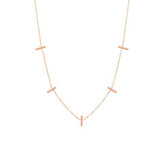 Zoë Chicco 14kt Rose Gold 5 Tiny Bar Station Necklace