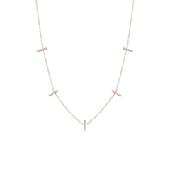 Zoë Chicco 14kt White Gold 5 Tiny Bar Station Necklace